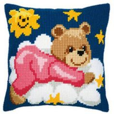 Pink Teddy Printed Cross Stitch Cushion Kit by Vervaco is a chunky cross stitch design which is printed on 5 count canvas for easy stitching. Cross Stitch Cushion, Cross Stitch Art, Cross Stitch Designs, Cross Stitch Embroidery, Cross Stitch Patterns, Knitting Squares, Pillow Crafts, Pillowcase Pattern, Kids Pillows