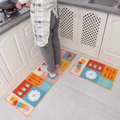 "AmazonSmile : Carvapet 2 Piece Non-Slip Kitchen Mat Rubber Backing Doormat Runner Rug Set, Cartoon Kitchen Design (Multi 15""x47""+15""x23"") : Garden & Outdoor"
