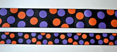 Purple and Orange Halloween dots printed on black by IsamayDesigns, $3.10