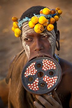 Woman of the Mursi tribe, Omo River Valley, Ethiopia