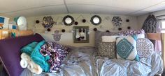 Purple, turquoise, and grey dorm room bed idea!
