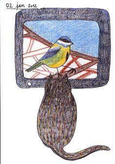 Vogel voor de kat  Mijn kat kijkt gefascineerd naar de TVkast, een vogel voor de ka(s)t.