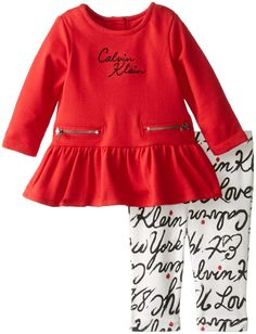 Calvin Klein Baby-Girls Newborn Tunic with Printed Leggings, Red, 0-3 Months
