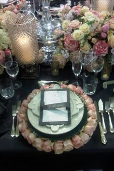 Table setting idea - when your bride wants to use an abundance of roses