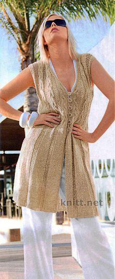 Удлиненный жилет   knitt.net   Все о вязании