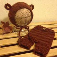 Newborn Teddy Bear Hat & Pants Photo Prop Set / by HippieNessKnits