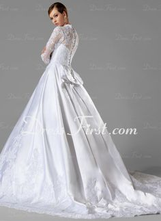 Ball-Gown V-neck Chapel Train Satin Wedding Dress With Ruffle Lace (002004745)