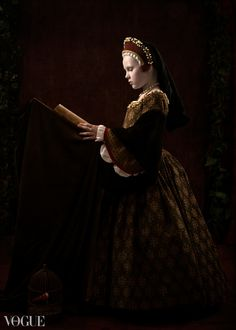 """Tudor Princess - """"The Reader."""" Photography by Nicole Wells. Dress, French hood, pearl jewelry by Susan Hosley. Featured on Vogue (Italia) website."""