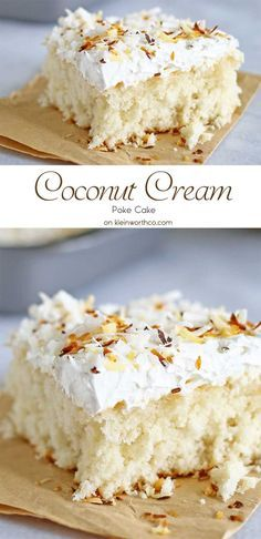 Coconut Cream Cake ~ a coconut lover's dream, easy to make, & packed full of delicious coconut flavor! Light & fluffy coconut cake topped with creamy whipped cream & homemade toasted coconut makes this Coconut Cream Cake enjoyable from first bite to last! | kleinworthco.com