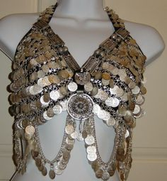 SILVER TONE BRA W/ COINS & MEDALLION TRIBAL BELLY DANCE, C cup, COTTON, INDIA