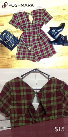 Plaid Romper Really sexy and unique romper with open back. I wish I could fit it but unfortunately it's not my size.  Fits true to size.  Please message me for more descriptions if you're interested!  #romper #plaid #cute #sexy #velvet #coduroy #tweed #openback #green #red #chic #christmas #lovely #girly #unique #gorgeous #shorts #vintage #retro Vintage Pants Jumpsuits & Rompers