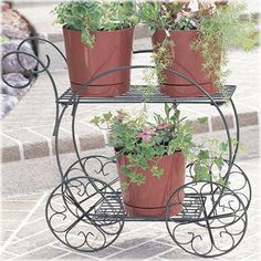 Two-tiered Garden Cart traditional outdoor planters