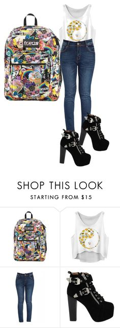 """""""my book bag is my style"""" by sweetheart216 ❤ liked on Polyvore featuring JanSport, Jeffrey Campbell, women's clothing, women, female, woman, misses and juniors"""