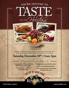 """Taste of the Holidays"" Campaign - Poster / Bag Stuffers, Retail | Team: Colin Hooker, creative director; Audra Norton / Andrzej Zalasinski art directors, designers | Agency: Hooker and Company | Client: Kowalski's Markets"