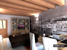 Zona studio/conversazione. Divano Maestro; Scrivania soprano, sedie vestite, libreria Folio, carta da parati con i tetti di Parigi.