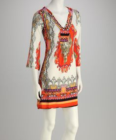 Take a look at this Ivory & Orange Arabesque V-Neck Dress by White Mark on #zulily today!