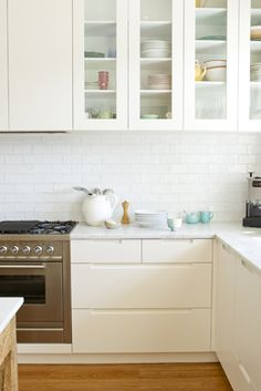 Subway Tile Splashback Kitchen Base Cupboards Duckegg Blue Highlight Cupboard Doors