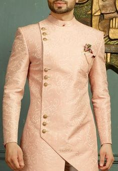 Woven Art Silk Jacquard Sherwani Set in Pink African Wear Styles For Men, African Shirts For Men, African Dresses Men, African Attire For Men, African Clothing For Men, Latest African Fashion Dresses, Nigerian Men Fashion, Indian Men Fashion, Mens Fashion Wear