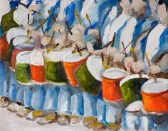 12 Drummers Drumming, painting by Delilah Smith