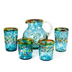 I want this set!  Aqua del Sol Recycled Glassware Collection (491563381), Recycled glasses and drinking glasses