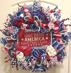 Fourth Of July Decor, 4th Of July Decorations, July 4th, 4th Of July Wreath, Wreath Crafts, Diy Wreath, Patriotic Wreath, Wreath Making, July Crafts