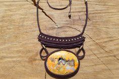 bumble bee jasper necklace,macrame stone necklace,macrame pendant,yellow gemstone,tread necklace,healing gemstone,macrame jewelry,boho chic by ARTEAMANOetsy on Etsy
