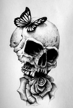 black and white skull and rose drawings - Google Search