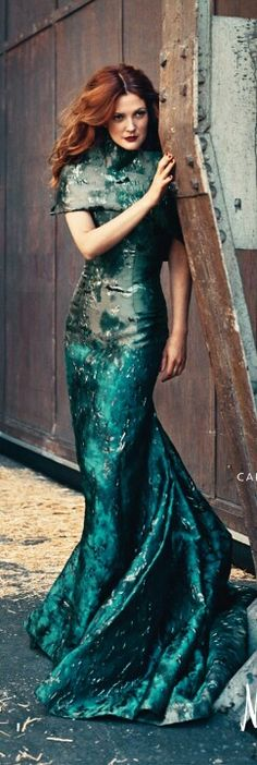 Drew Barrymore in Carolina Herrera Green Gown.