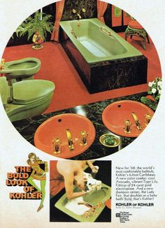 """Whatever happened to green bathrooms. """"The Bold Look of Kohler"""" 1968 Retro Ads, Vintage Advertisements, Vintage Ads, Vintage Decor, Vintage Posters, 1970s Decor, 70s Home Decor, Vintage Interior Design, Vintage Interiors"""