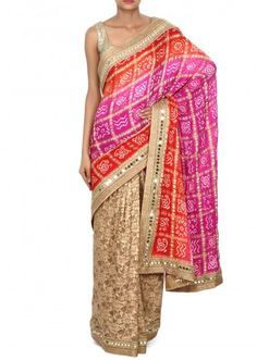 Half and half bandhani saree with mirror embellished border only on Kalki