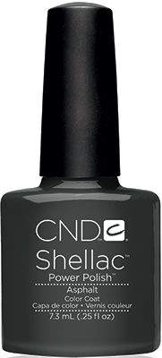 CND Shellac Asphalt. Current Color. Love!  This is my new go-to nail color for fall.  It's gray with a tiny hint of blue without looking creepy.