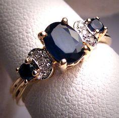 Vintage Sapphire Diamond Wedding Ring Art by AawsombleiJewelry, $985.00