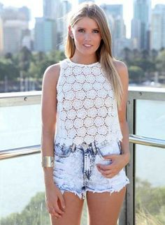 White Lace Front Sleeveless Crop Top,  Top, white lace crop floral sleeveless, Bohemian (Boho) / Hippie