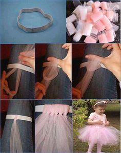 Easy, no-sew tutu for dress-up and play. Tutu made from strips of tulle that is tied! Diy Tutu, Tutu En Tulle, No Sew Tutu, Ribbon Tutu, Organza Ribbon, Tutu Sans Couture, Diy Couture, Tutu Bailarina, Tulle Skirt Tutorial