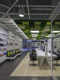 Green Boxes Cover The Ceiling Of Clip Hair Salon By Sweco Architects Green Boxes Cover The Ceiling Of Clip Drop In Hair Salon By Sweco Architects Office Ceiling, Open Ceiling, Ceiling Decor, Ceiling Design, Retail Interior Design, Interior Design Studio, Corporate Interiors, Office Interiors, Office Workspace