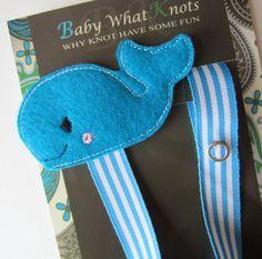 Blue Whale Pacifier Clip Boy Whale Pacifier Clip by babywhatknots, $9.25