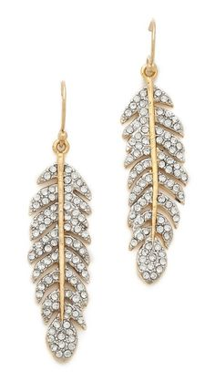 juicy couture pave feather drop earrings // shop bop // $48