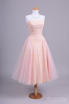 1950's Pale Pink Lace Vintage Prom Dress : Mill Crest Vintage
