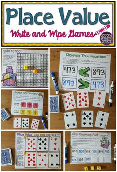 This second grade Common Core aligned place value game resource includes 13 self-checking write and wipe games for independent or guided practice. These are perfect for math centers math workshop, and early finishers in grade 2 when students are working on place value through 1000. I love that they are easy to prep! $