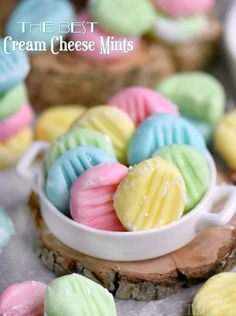 The BEST Cream Cheese Mints you'll ever try! This incredibly easy recipe yields the most delicious, luscious, melt-in-your-mouth cream cheese mints around! Make them in any color you like! Perfect for baby showers, weddings, and Mint Recipes, Candy Recipes, Sweet Recipes, Holiday Recipes, Dessert Recipes, Vegan Recipes, Easter Recipes, Holiday Treats, Fudge