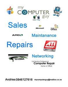 Contact MyComputerGuy for Repairs,Sales , Re-installations and for New and Secondhand Computers, Laptops etcContact Andries J 24 years exp Gumtree South Africa, Buy And Sell Cars, Computer Repair, 24 Years, Find A Job, Computers, Laptops, Laptop