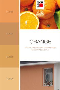 Orangetöne signalisieren Wärme und Komfort. Wählen Sie Orangetöne nur für Teile der Fassade, welche mit harmonischen ergänzenden Farben gestaltet werden. Dadurch erhält die Fassade ein frisches und einladendes Erscheinungsbild. Großflächig verwendetes Orange kann sowohl Überfluss als auch Spaß oder einen Mangel an förmlicher Erscheinung suggerieren. Passende Farben zum Kombinieren mit Orange sind hellere und warme Brauntöne. #wirkungvonwandfarbe   #Farbtrends2020wohnen  #Farbinspiration Komfort, Orange, Colours, Warm Browns, Matching Colors, Fresh, Get Tan, Homes, Pictures