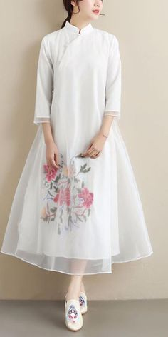 Loose Stand Collar Summer Clothes Wardrobes White Embroidery Kaftan Dress White Linen Dresses, Cotton Dresses, White Dress, Summer Clothes, Summer Outfits, Summer Maxi, Summer Dresses, White Embroidery, Wardrobes