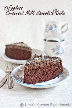 Eggless Condensed Milk Chocolate Cake ~ My Kitchen Experiments