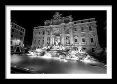 Joan Carroll Framed Print featuring the photograph Trevi Fountain Rome Italy Bw by Joan Carroll  Trevi Fountain Rome Italy Bw - Joan Carroll  #trevi #fountain #rome #italy #blackandwhite #night #nightphotography #travel  Visit joan-carroll.pixels.com for more #art #photography #fashion and #homedecor items from #ITALY and around the world! @joancarroll +JoanCarroll