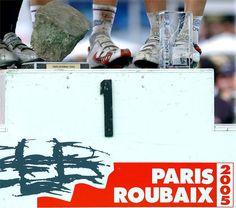 DeFeet on top of the podium in 2005. Paris-Roubaix, Boonen.