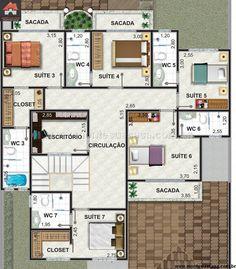 Planta de Sobrado - 7 Quartos - 292.65m² - Monte Sua Casa