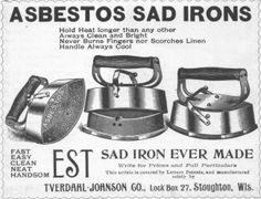 Asbestos sad iron with interchangeable cores, (more info in comments) Vintage Advertisements, Vintage Ads, Heart Failure, Antique Iron, Earn Money From Home, Old Ads, Print Ads, Helpful Hints, Cancer