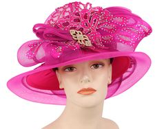 107c254b796 Ms. Divine Collection Year-round hat. Covered with satin and metallic stud  trimmed