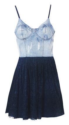 Denim/lace dress